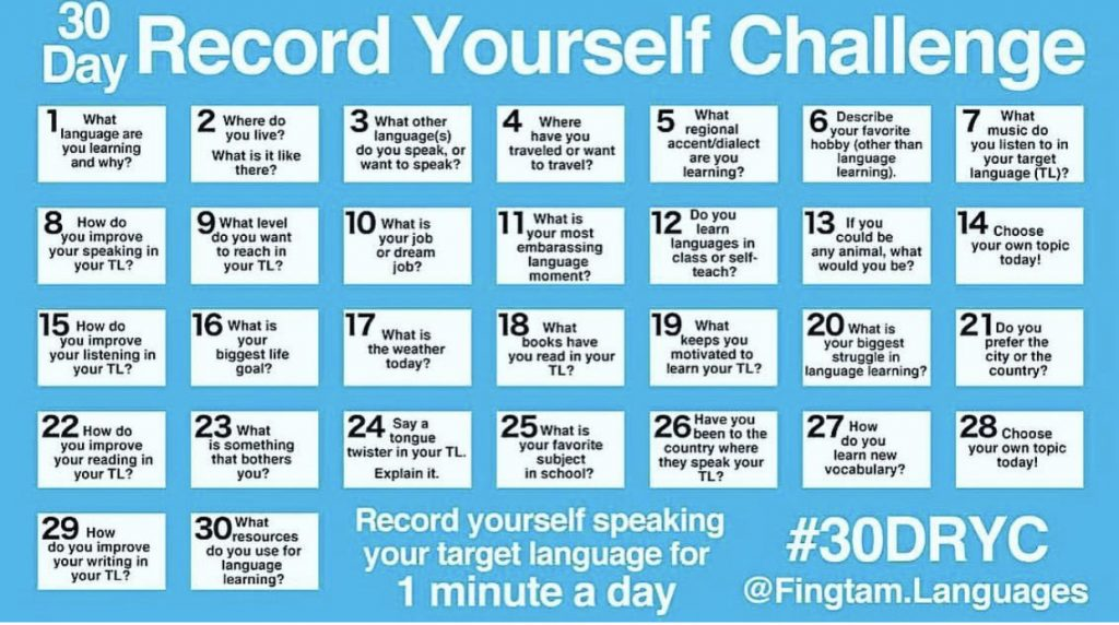 30 Days Records Yourself Challange